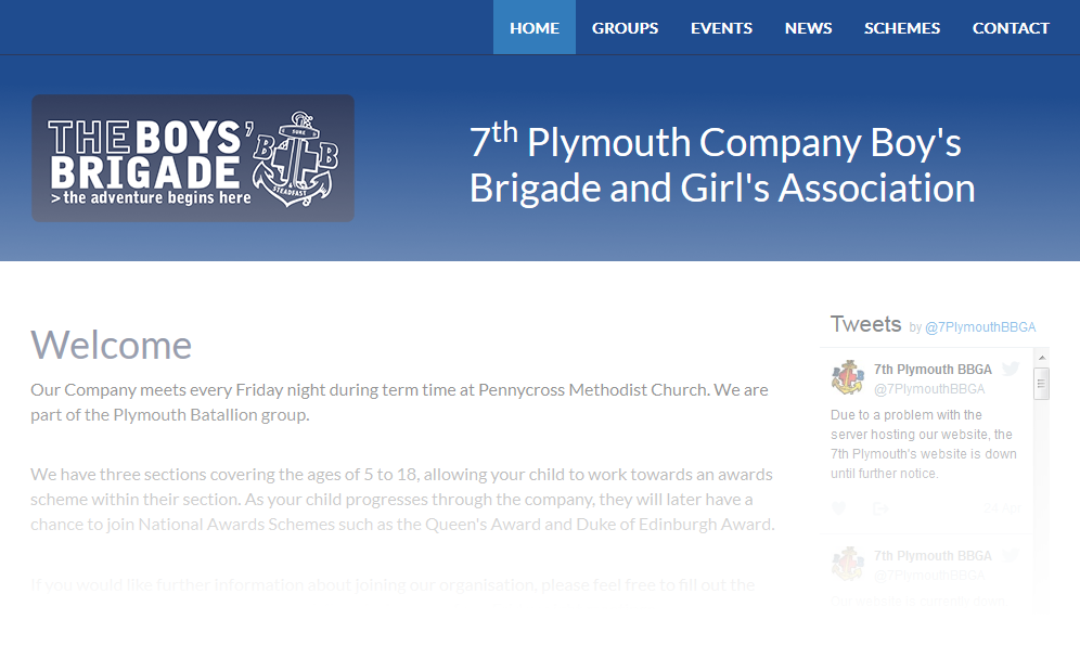 Image of Boy's Brigade website